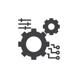 Gear, settings icon vector, filled flat sign, solid pictogram isolated on white. Stock Photos