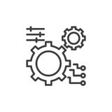 Gear, settings line icon, outline vector sign, linear style pictogram isolated on white. Stock Photos