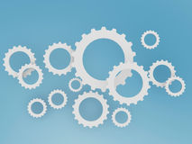 Gear shape cloud on blue sky. Gear shape clouds on blue sky background Royalty Free Stock Images
