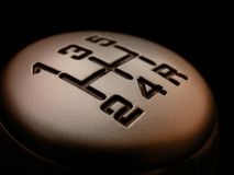 Gear shift. A gear shifter with the numbers 1-5 and reverse royalty free stock photos