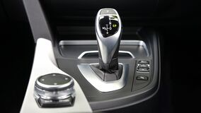 Gear shift in automobile Stock Photo