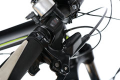 Gear shift and hydraulic brake group. One-touch gear shift and hydraulic brake group (mineral oil tank and brake lever) in mountain bike (MTB), isolated on white royalty free stock photo