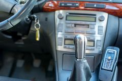 Gear shift knob on japanese car close up shot,. Heating cooling system on the background royalty free stock photos