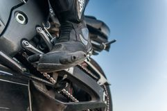Gear shift lever sportbike on sunset, on the road Russian Federation stock image