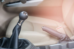 Gear shift in Modern car interior. View stock photography