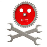 Gear skull and wrenches 3d Stock Photos