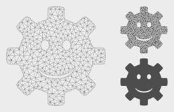 Gear Smile Smiley Vector Mesh Network Model and Triangle Mosaic Icon. Mesh gear smile smiley model with triangle mosaic icon. Wire frame triangular network of vector illustration