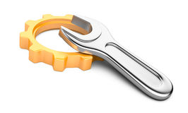 Gear and spanner Royalty Free Stock Photo
