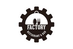 gear, spoon and fork, factory restaurant logo Designs Inspiration Isolated on White Background. royalty free illustration