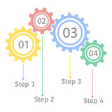 Gear statistic concept. Infographic business template. Cogwheel connection, teamwork. Steps by step. Stock Photography