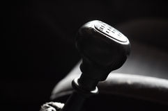 Gear stick. Close-up of gear stick handle. Shallow DOF Royalty Free Stock Images