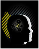 Gear symbol in the head. Of a thinking people silhouettes, conceptual vector illustration vector illustration