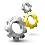 Gear system. Composed by silver and golden wheels stock illustration