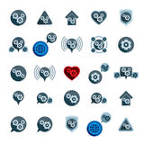Gear system power development and progress theme unusual icons s Stock Photos