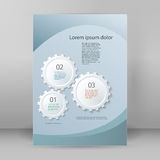 Gear theme brochure cover page A4. Technology abstract design element on white background. Vector illustration eps 10. Can use for business brochure layout, web Stock Photos