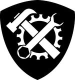 Gear and tools, locksmith and mechanic logo, sticker label Royalty Free Stock Images