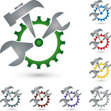 Gear and tools, mechanic and locksmith logo Stock Photos