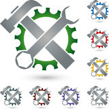 Gear and tools, mechanic and locksmith logo Stock Photo