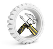 Gear with tools Stock Photography