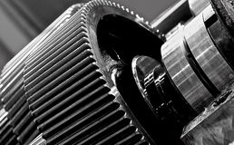 The gear train in the gear Stock Photography