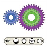 Gear train provides the desired motion. illustration vector Stock Photography