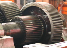 The gear train. In the gear rolling mill Stock Image