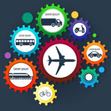 Gear transmission and different transport. Set infographics and icons Stock Photography