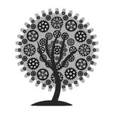 Gear tree 1 gray. Illustration in Stock Photos
