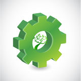 Gear tree sign illustration design Royalty Free Stock Photos
