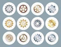 Gear vector illustration mechanics gearing web development shape work cog engine wheel equipment machinery element. Gear icons vector illustration mechanics Royalty Free Stock Image