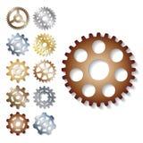Gear vector illustration mechanics gearing web development shape work cog engine wheel equipment machinery element. Gear icons vector illustration mechanics Royalty Free Stock Photos