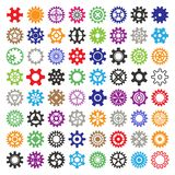 Gear vector mechanism icons isolated illustration. Mechanics web development shape work cog multicolor gear sign. Engine. Wheel equipment machinery element royalty free illustration
