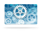 Gear wheel abstract business card. Vector illustration Royalty Free Stock Photos