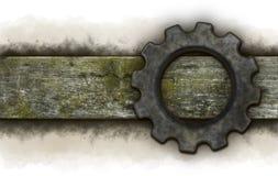 Gear wheel banner. Gear wheel on old wooden plank Stock Image