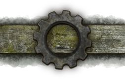 Gear wheel banner. Gear wheel on old wooden plank Royalty Free Stock Images