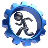 Gear wheel cartoon guy business man character running hr. Gear wheel cartoon guy business man character running inside rotate cogwheel stylized human hamster Royalty Free Stock Images