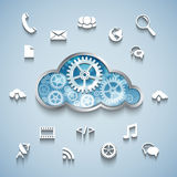 Gear wheel cloud and communication and network flat design. Cloud computing concept: Gear wheel cloud and communication and network flat design icons on blue Royalty Free Stock Photo