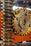 Gear wheel, cogs and screw of industry machine. Royalty Free Stock Images