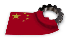 Gear wheel and flag of china Stock Photos