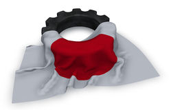 Gear wheel and flag of japan. 3d rendering Royalty Free Stock Photo