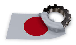 Gear wheel and flag of japan. 3d rendering Stock Image