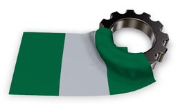 Gear wheel and flag of nigeria Stock Photo