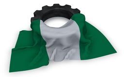 Gear wheel and flag of nigeria Stock Images