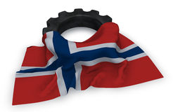 Gear wheel and flag of norway. 3d rendering Stock Images