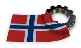 Gear wheel and flag of norway Stock Photography