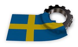 Gear wheel and flag of sweden Royalty Free Stock Image