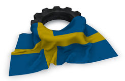 Gear wheel and flag of sweden Stock Photo