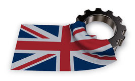 Gear wheel and flag of the united Kingdom of Great Britain and Northern Ireland Royalty Free Stock Images