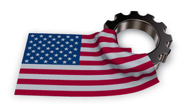 Gear wheel and flag of the usa Royalty Free Stock Photos