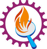 Gear wheel with flame. A vector drawing represents gear wheel with flame design Stock Photos